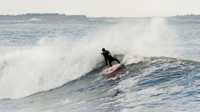 Logan Landry surfing Nova Scotia