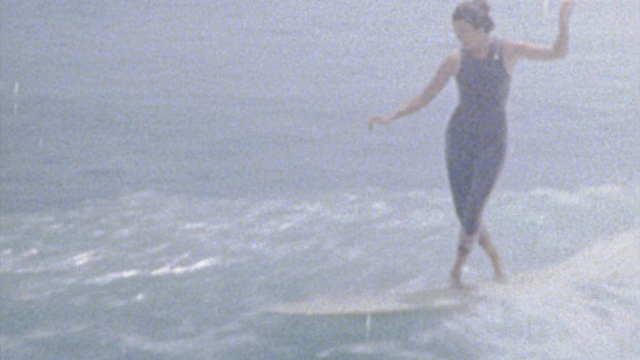 Kassia Meador and Lola Mignot surfing on a Sunday at Malibu