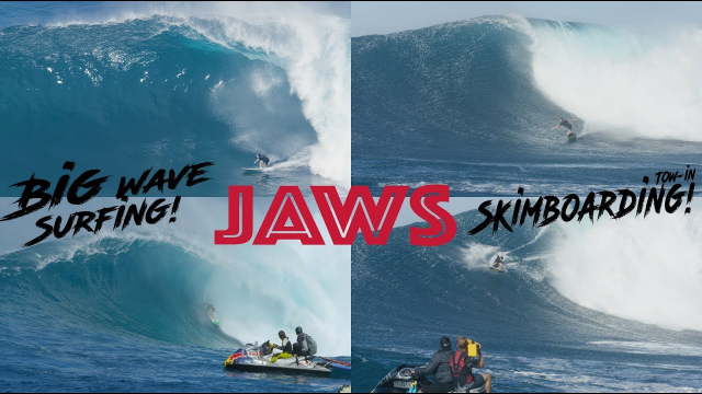 Tow-In Skimboarding and Surfing Big Waves at JAWS!