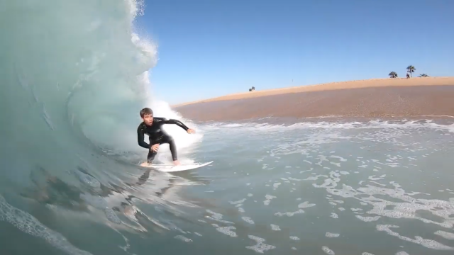 Mason Ho surfing The Wedge