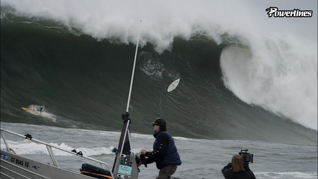 SURFER DIVES UNDER BIGGEST WAVE OF MAVERICKS WINTER 2020