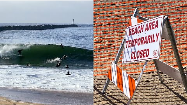 Surfing during BEACH CLOSURE at Newport Beach WEDGE due to COVID-19