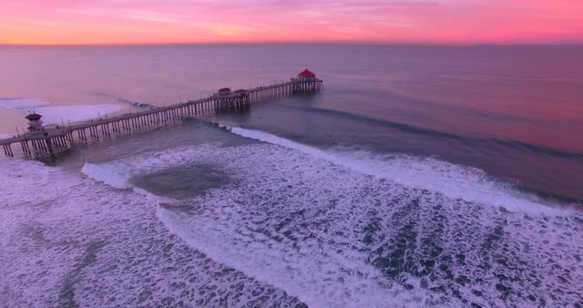 Huntington Beach Surfing Sunrise