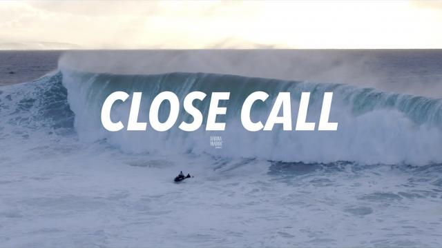 Close Call - Big Wave & Dramatic Rescue Sequence #Drone Nazaré, Portugal [4K]