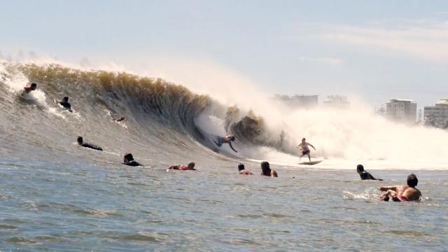 Pumping Kirra Gold Coast - Cyclone Uesi (Water Footage)
