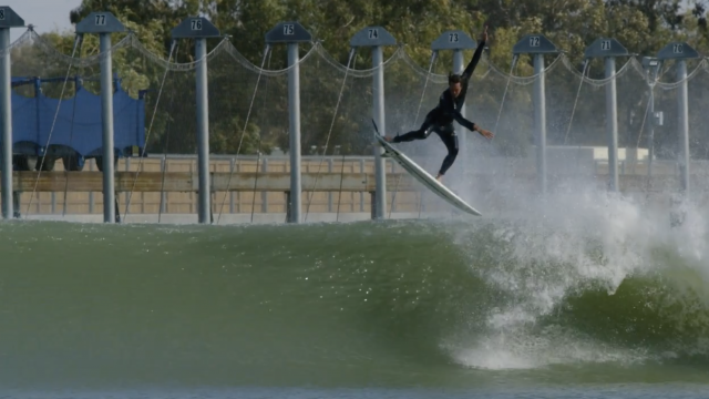 Jordy Smith rides the Slater Designs Omni at Surf Ranch.