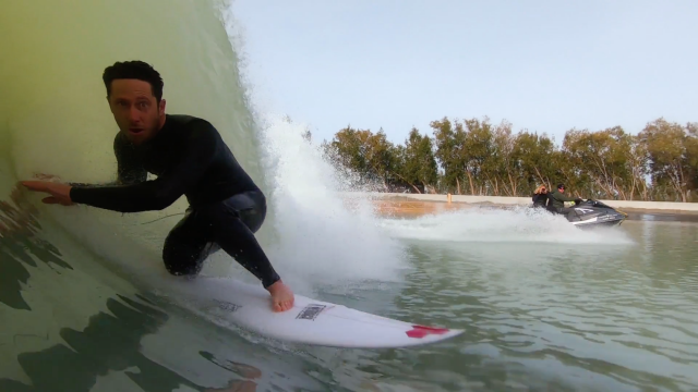 Britt Merrick and Nathaniel Curran Test Ride CI's Happy at the Surf Ranch