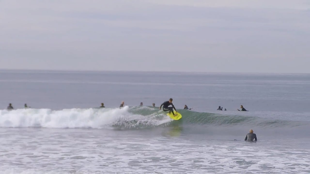 KALANI ROBB SURFING NEW SIGNATURE STAND UP BODYBOARD AT LOWERS