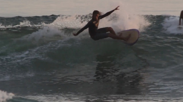 "Ryan Burch at home on a 5'3"" Squit Fish"