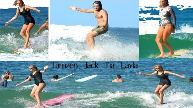 Longboarding Tea Tree @Noosa (in heavy traffic) Tamzen/Tia/Layla/Rick/Jack