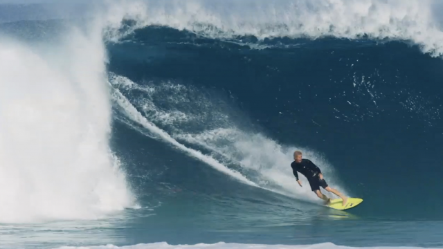 Florence surfing hollow sandbar down from Pipeline