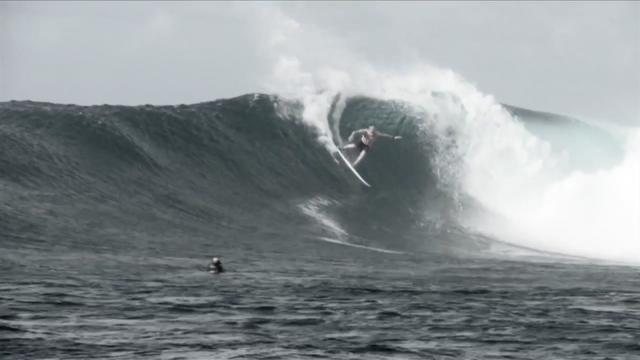 Mick Fanning surfing heaving barrels in early 2012