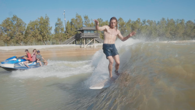 The Cigarette Surfboard at Kelly Slater's Wave Pool