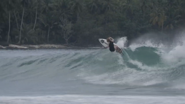 Sierra Kerr surfing Mentawai Islands Indonesia 12 years old.