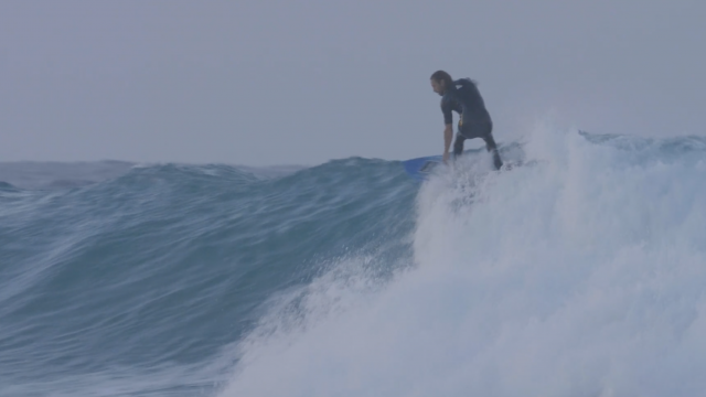 "Asher Pacey on the 5.59"" AP Pro Series Twin Fin"